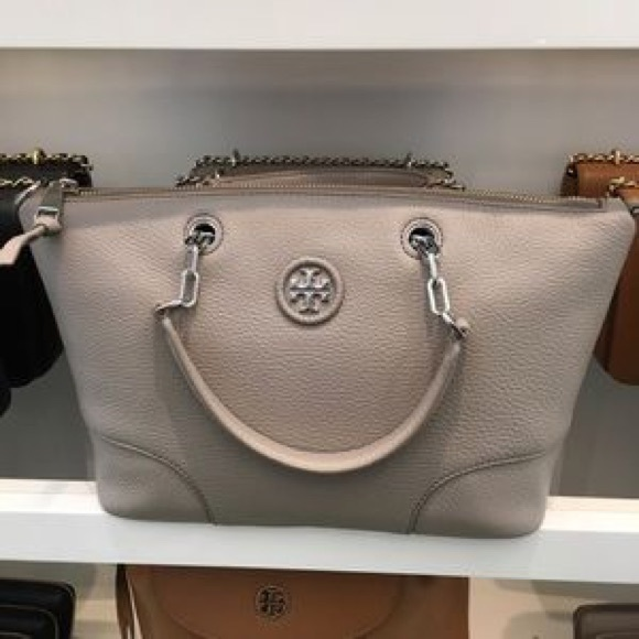 d40fb95db9de Mint❤️tory burch whipstitch logo satchel bag. M 5a57da069cc7ef6d8d0313a0